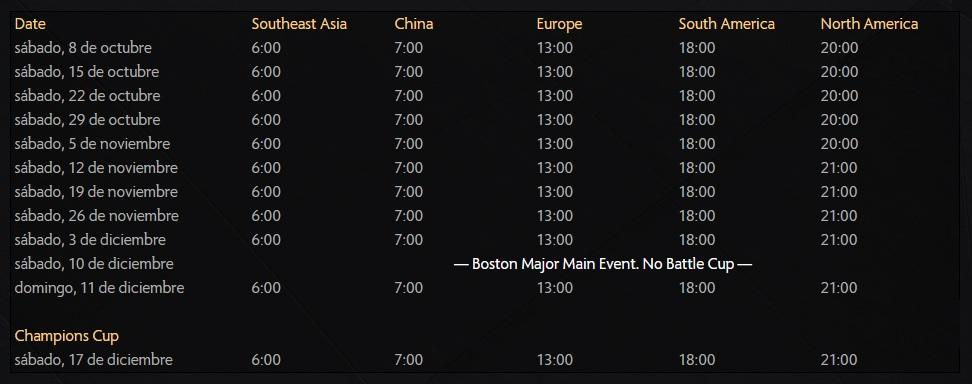 horarios y fechas de Battle Cup Fall 2016