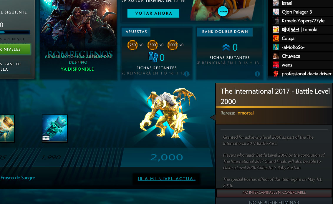 Recompensa nivel 2000 del Battle Pass TI7
